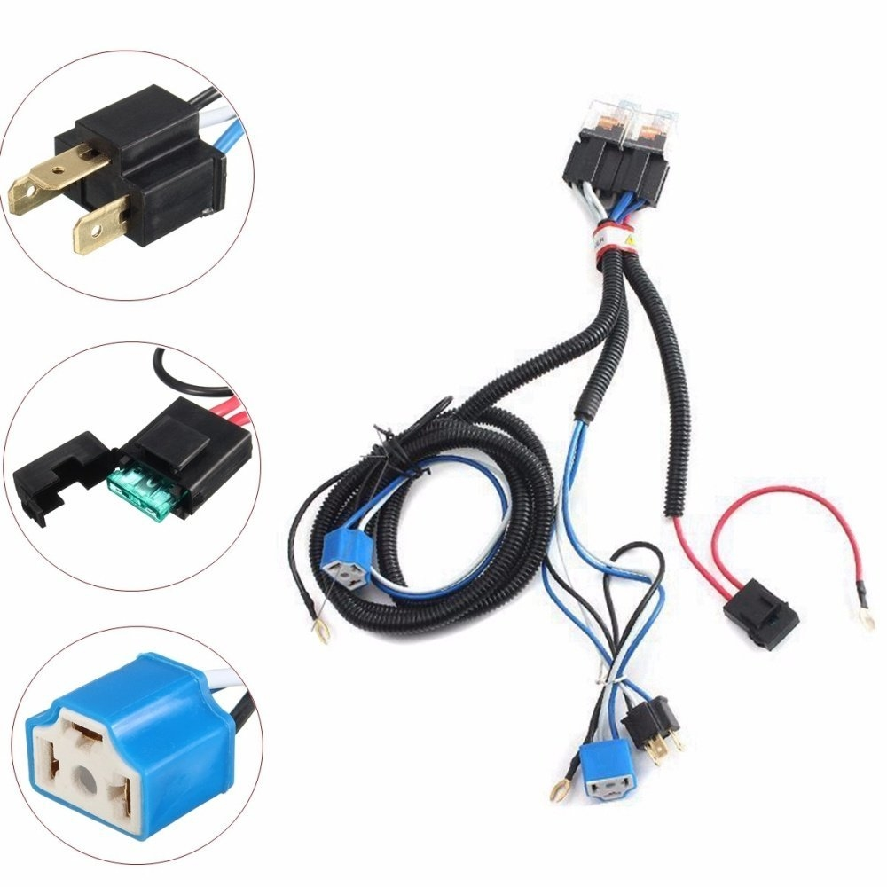 UNIVERSAL H4 Headlight 7 Inch Relay Wiring Relay Harness Car Light on universal ignition switch, universal neutral safety switch, universal brake light switch, universal cruise control switch, universal headlight trim ring, universal hood release cable, universal headlight relay harness, universal headlight assembly,