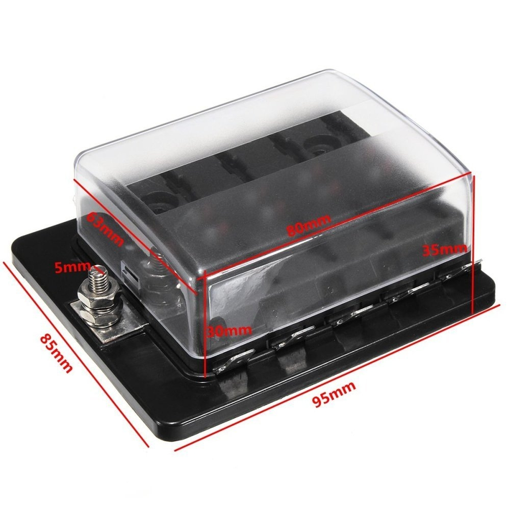 Buy Universal 10 Way Blade Fuse Connector Box Holder Led Warning 125 Amp Image