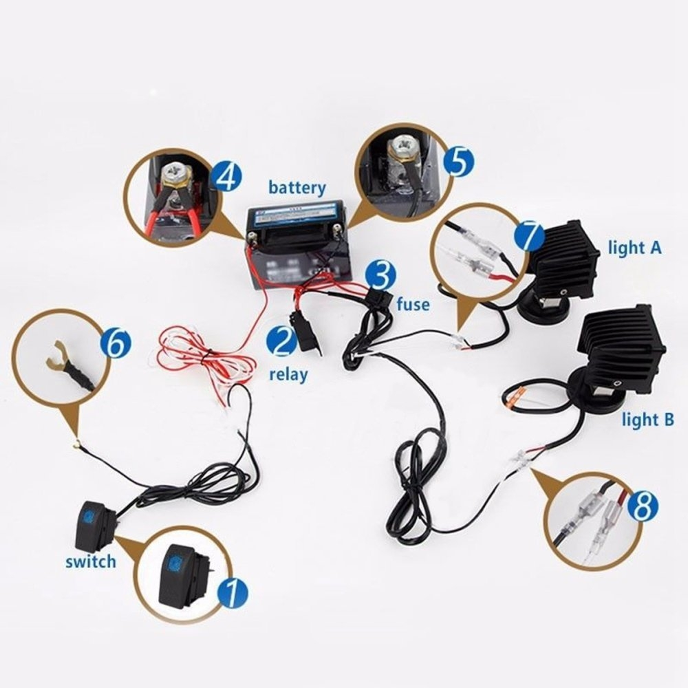 Buy Universal 12v Wiring Harness Kit With Led High Beam Laser Rocker Off Road Kits This Listing Includes A New Latest Power Switch 3 Pins And For Light Bar You Can Connect Two Lights Added Up To No More