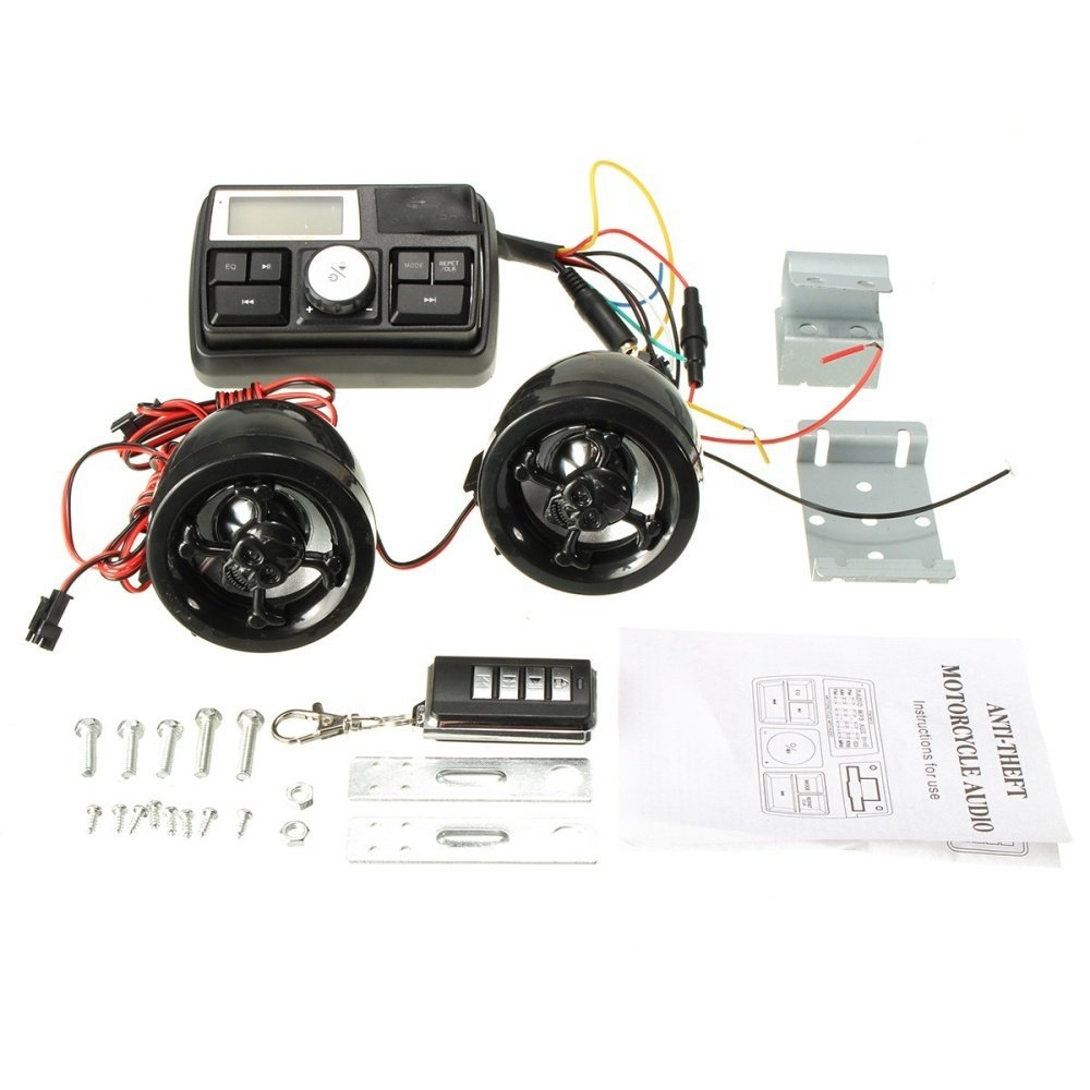 1 x Motorcycle audio 2 x Speaker 1 x Remote control 1 Set x Install  accessories 1 x English Manual (Comes with a box)