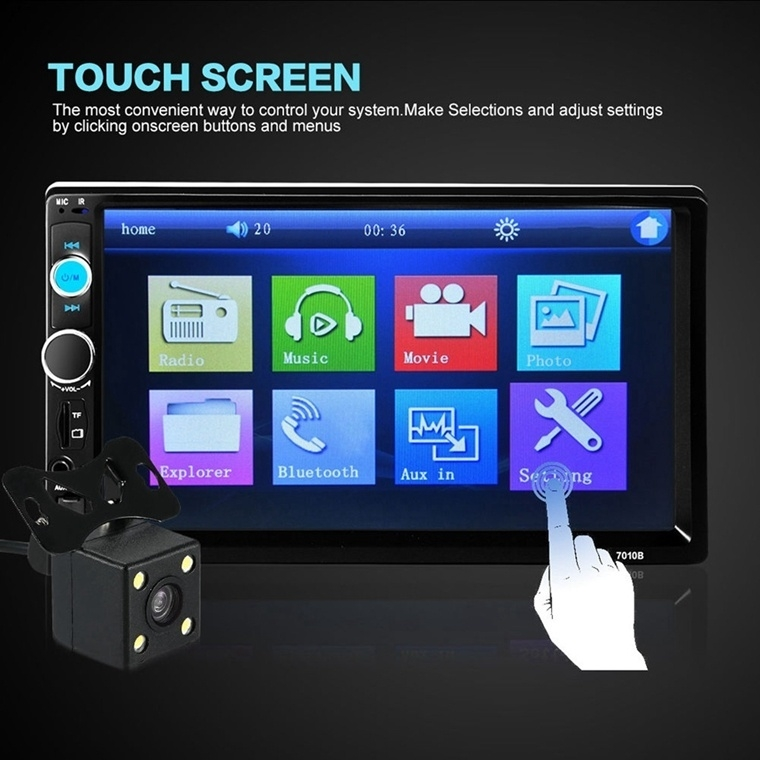 7 Inch Car Stereo Radio MP5 MP3 Player FM USB AUX Full HD Bluetooth Touch Screen Rear View Camera