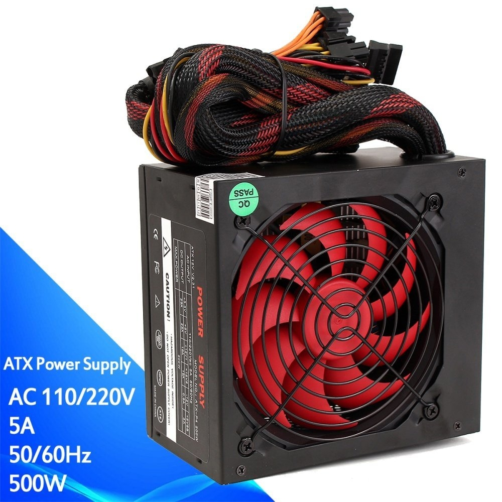 Buy Universal 500w Gaming 80mm Fan Silent Atx Computer Power Supply Kabel Komputer Cpu Desktop Image
