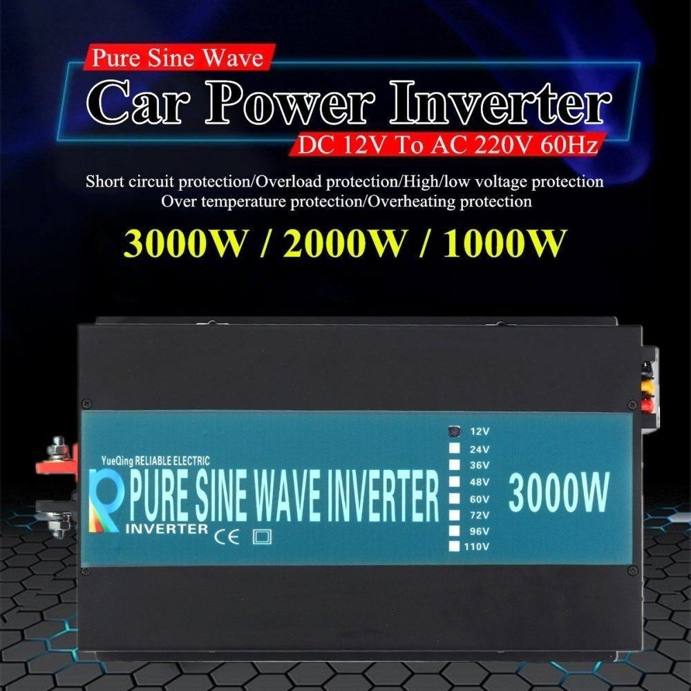 Buy Universal Car Power Inverter Dc 12v To Ac 220v Pure Sine Wave High Low Voltage Protection Circuit Output Frequency 60hz Efficiency 90 Waveform Protective Function Short