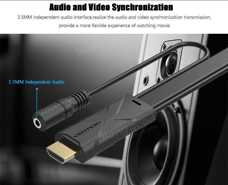 Vention HDMI to VGA Converter Cable With 3.5mm Audio Adapter Micro USB Port For Xbox 360 PS3 Laptop