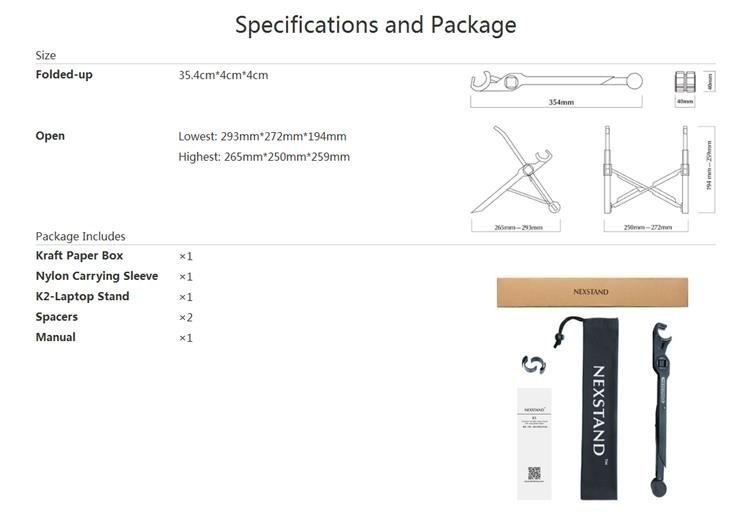NEXSTAND™ K2 Laptop Stand Portable Adjustable Eye-Level Ergonomic for Apple MacBook PC Laptop
