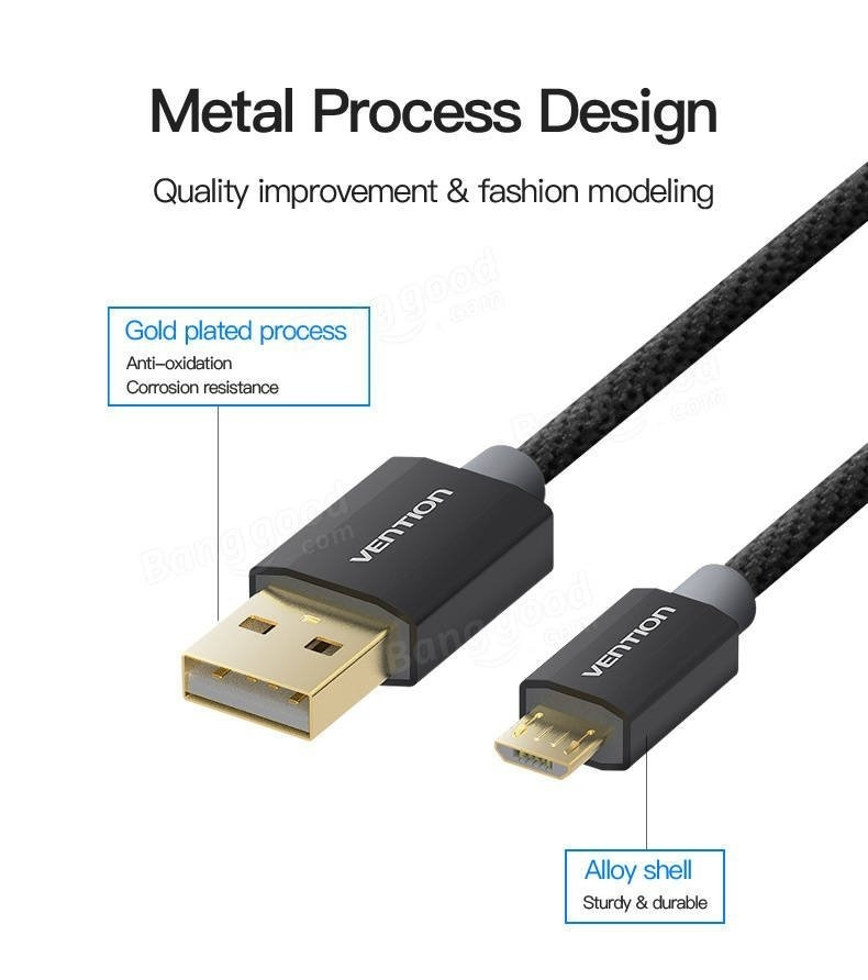 Vention Micro USB 2.0 Data Line Charger Cable for Samsung Galaxy S4 Huawei Android Phone
