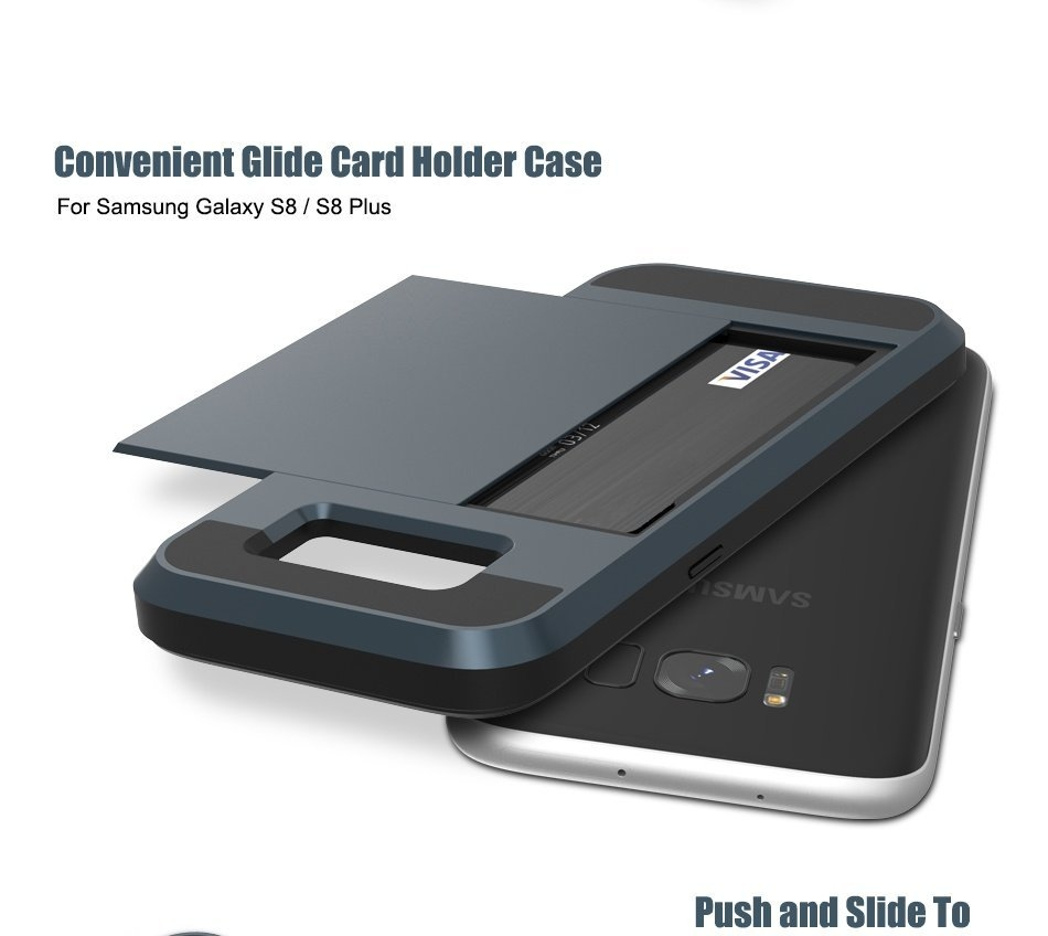 Bakeey™ Glide Armor Credit Card Slot Holder Hybrid PC+TPU Shockproof Case for Samsung Galaxy S8 Plus