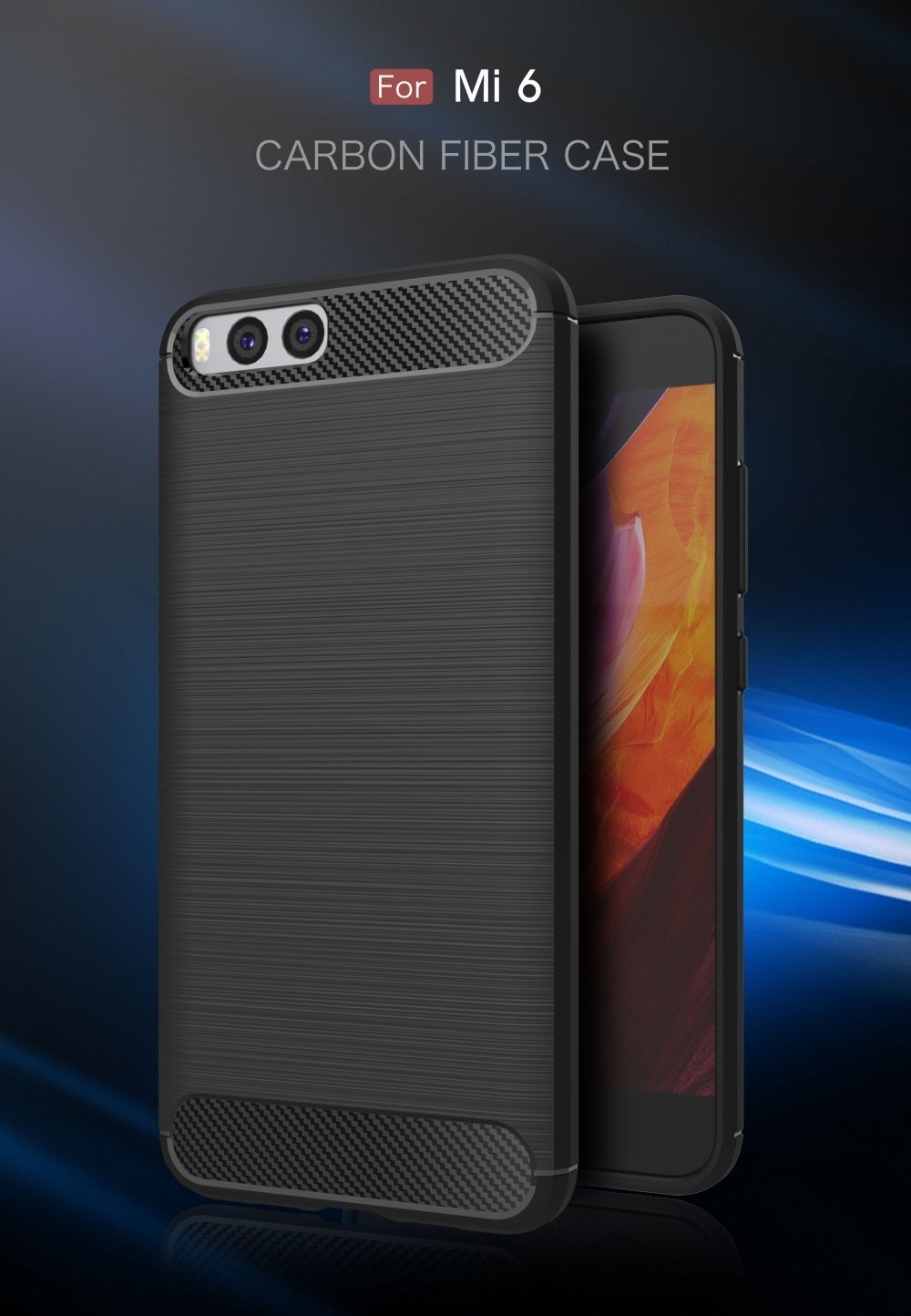 Carbon Fiber Soft TPU Shockproof Back Case Cover For Xiaomi Mi6 Mi 6