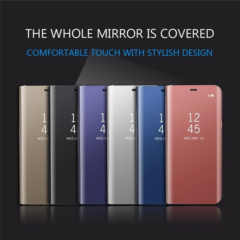 Bakeey Smart Sleep Window View Bracket Electroplating Mirror PU Leather Case For Samsung Galaxy S7 Edge