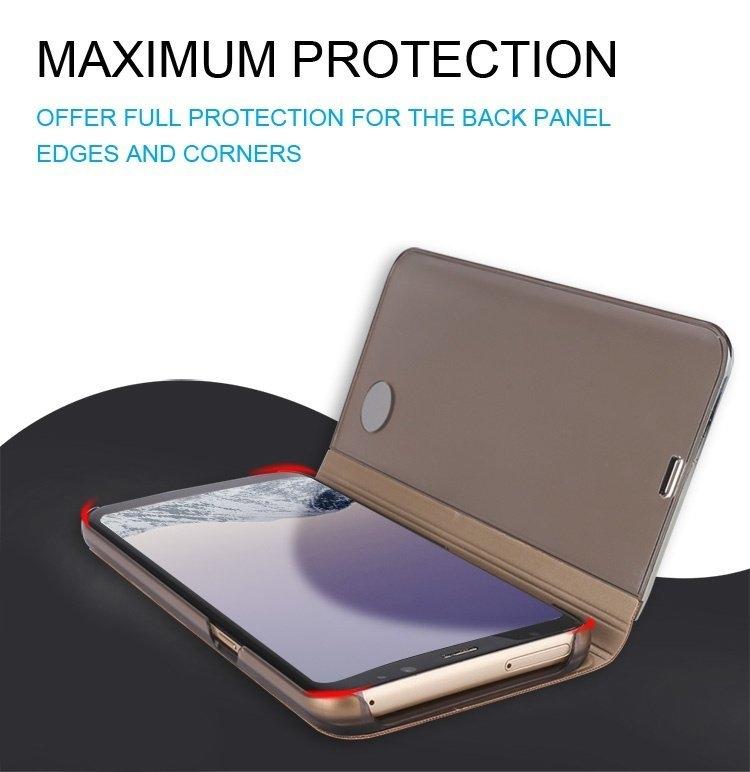 Bakeey Smart Sleep Window View Bracket Electroplating Mirror PU Leather Case For Samsung Galaxy S7 Edge