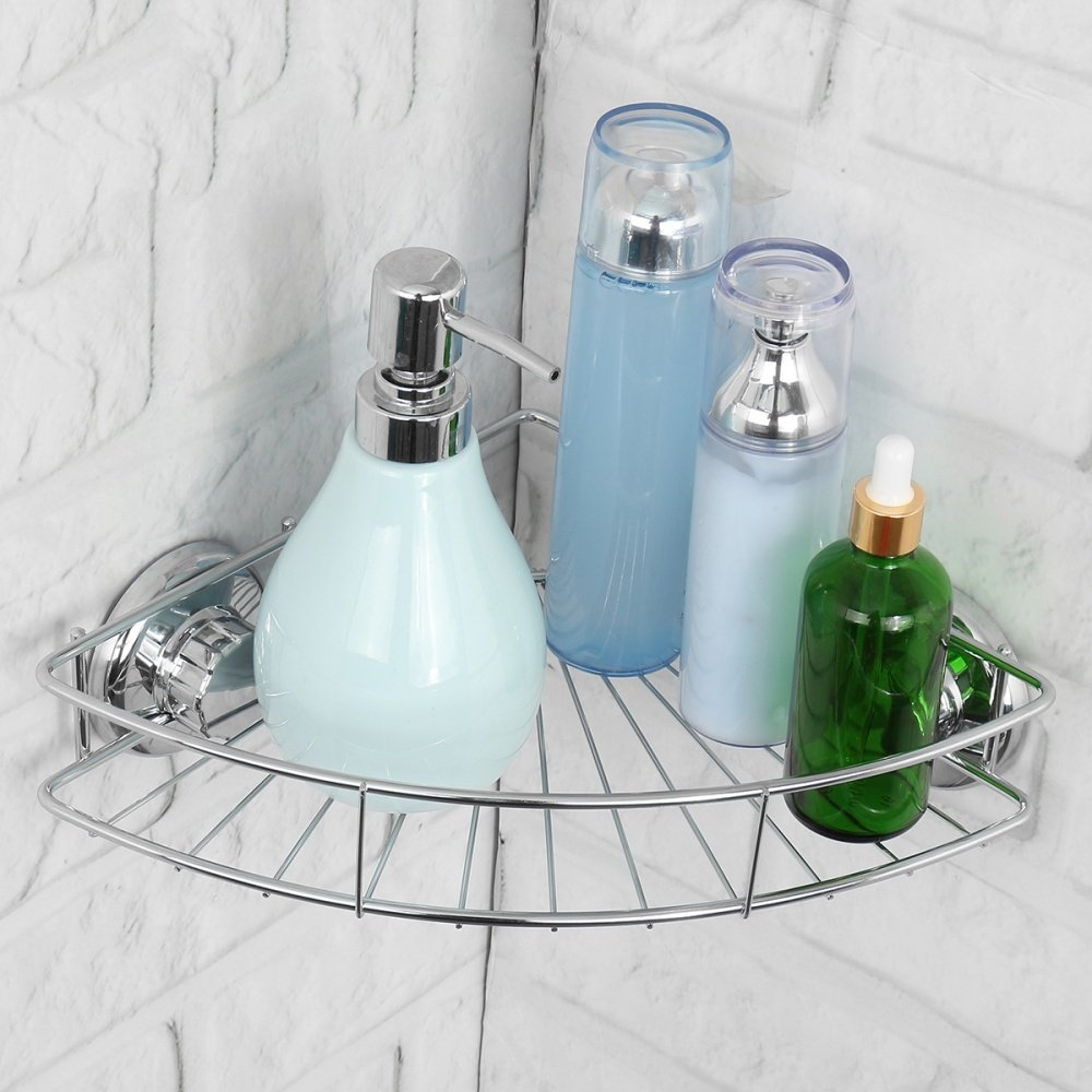 Buy UNIVERSAL Shower Suction Corner Shelf Rack Holder Stainless ...