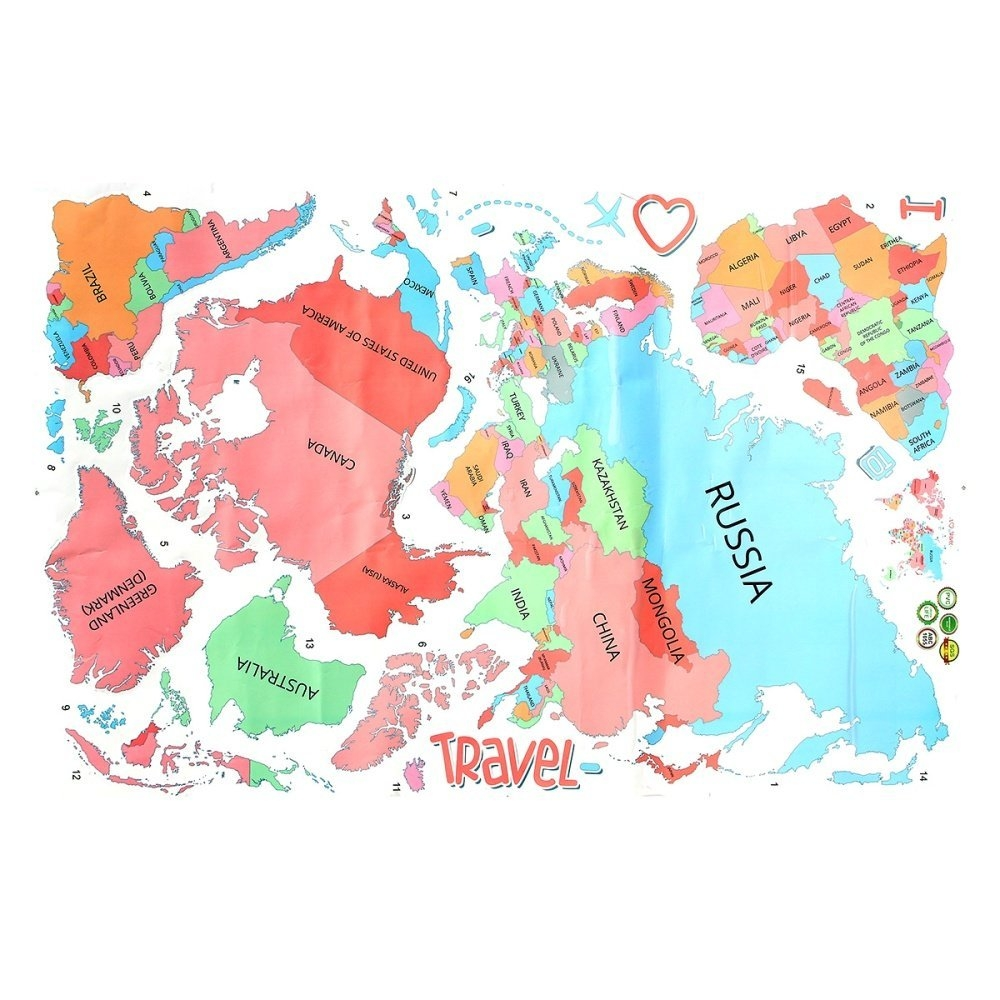 Color Your Own World Map.Universal 1pcs World Map Removable Wall Stickers Art Letter Quote