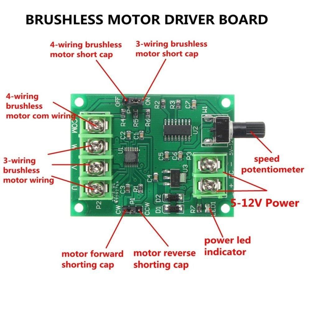 Universal 5V-12V DC Brushless Motor Driver Board Controller