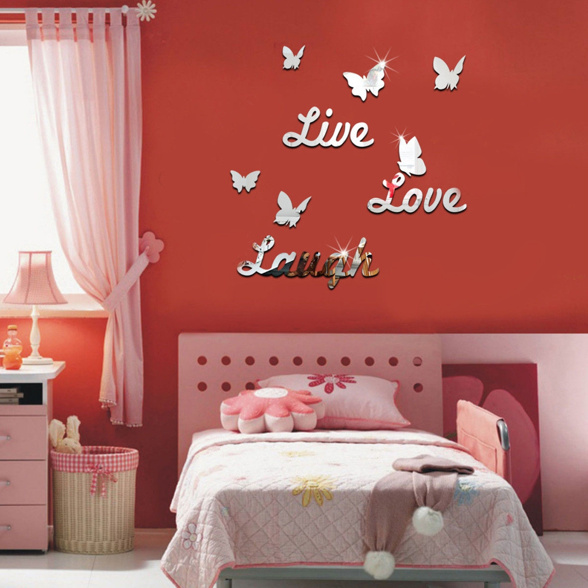 Universal 3D LIVE LOVE LAUGH Butterfly Mirror Acrylic Wall