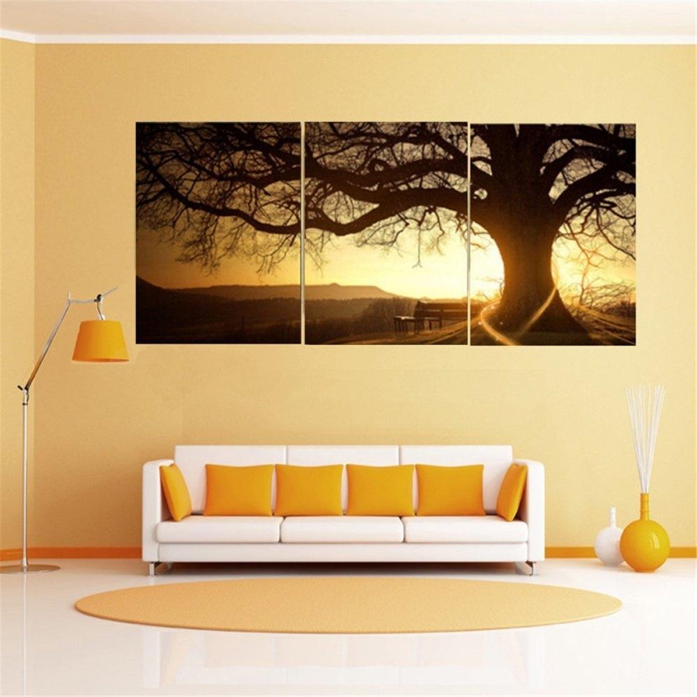 Buy UNIVERSAL (No Frame) 40x50cm 3 Panel Modern Printed Tree ...