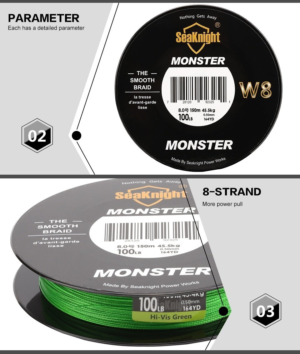 SeaKnight MONSTER W8 150M Fishing Line Braid 8 Strands Smooth Super Line PE Multifilament 20-100LB