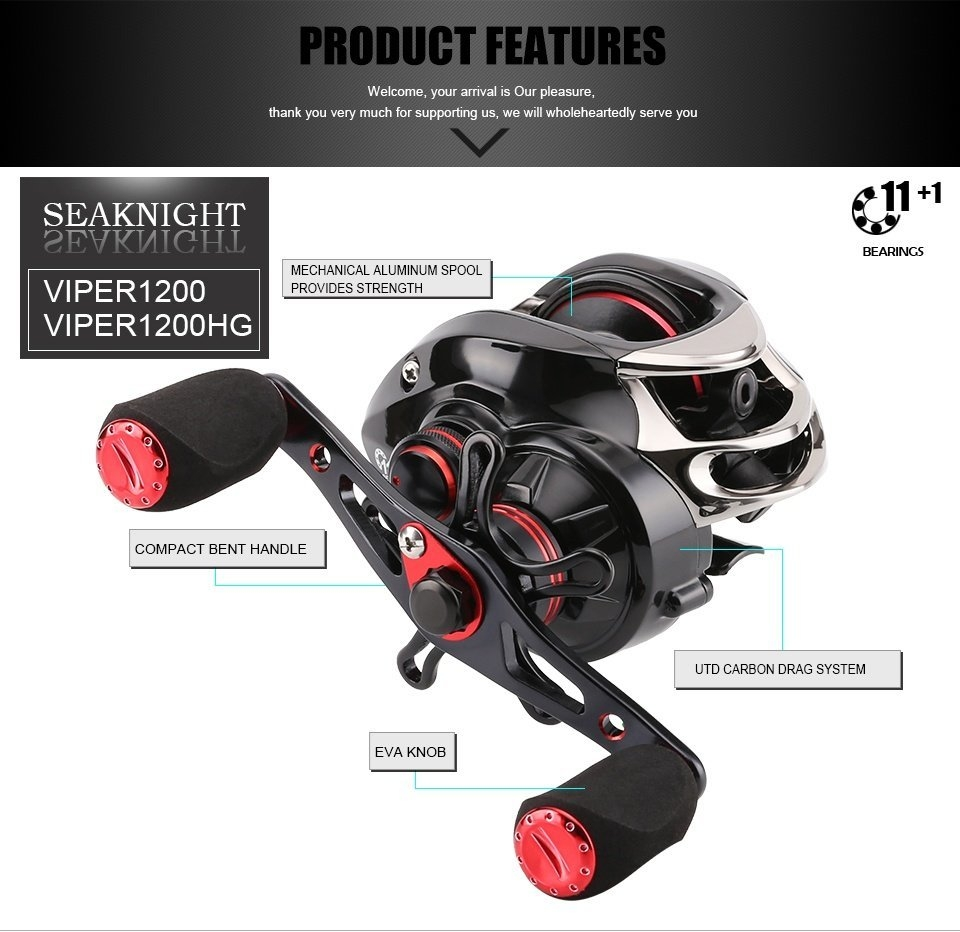 SeaKnight VIPER1200 VIPER1200HG 6.3:1 7.0:1 Baitcasting Fishing Reel 7.5KG Drag 12BB 210g Wheel