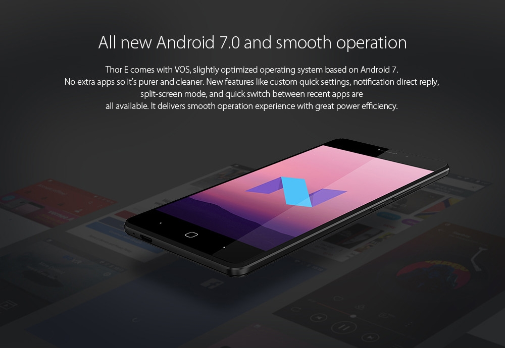 Vernee Thor E 4G Smartphone 5.0 inch Android 7.0 MTK6753 Octa Core 1.3GHz 3GB RAM 16GB ROM Touch Sensor 5020mAh Battery Full Metal Body