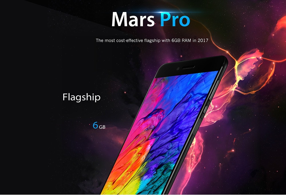 Vernee  Mars Pro 4G Phablet Android 7.0 5.5 inch Helio P25 Octa Core 2.5GHz 6GB RAM 64GB ROM Fingerprint Sensor 13.0MP Rear Camera Full Metal Body