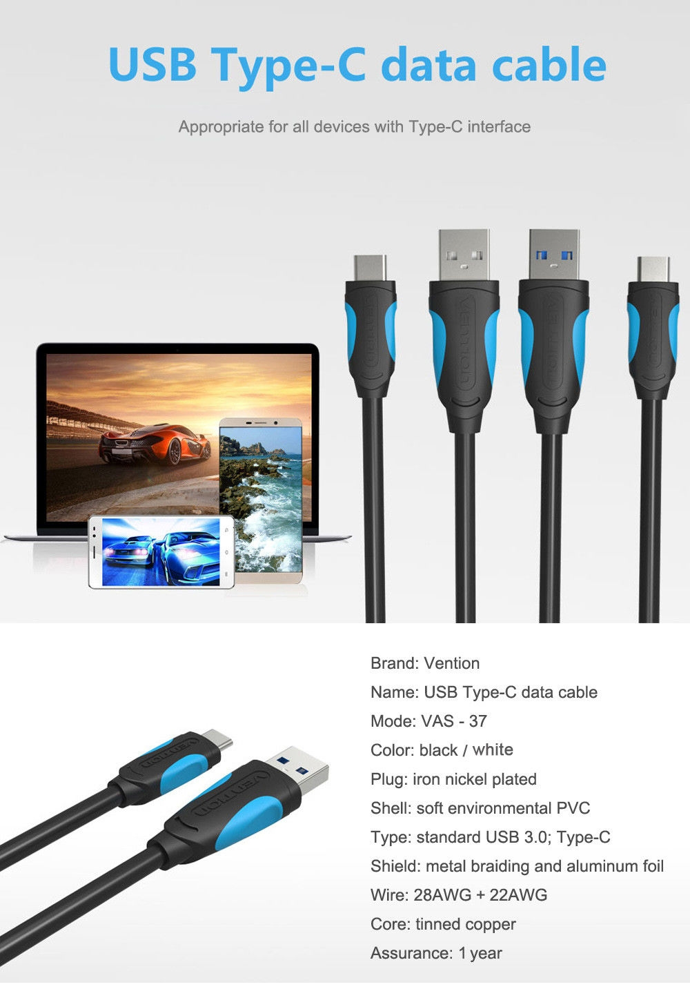 Type Fcc Cable : Vention a type c to usb transfer data sync cable