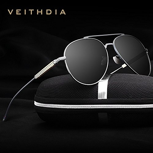 7a901d0af8 VEITHDIA 6696 Al-Mg Metal Frame Polarized Aviator Sunglasses 100% UV  Protection (Gun Frame Grey Lens