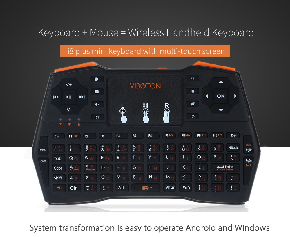 VIBOTON i8 Plus Handheld Wireless Keyboard with Touch Pad