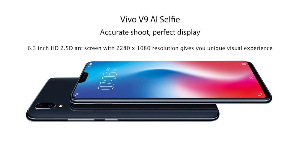 Vivo V9 4G Phablet 6.3 inch Android 8.1 Qualcomm Snapdragon 626 Octa Core 2.2GHz 4GB RAM 64GB ROM 24.0MP Front Camera Fingerprint Recognition 3260mAh Built-in
