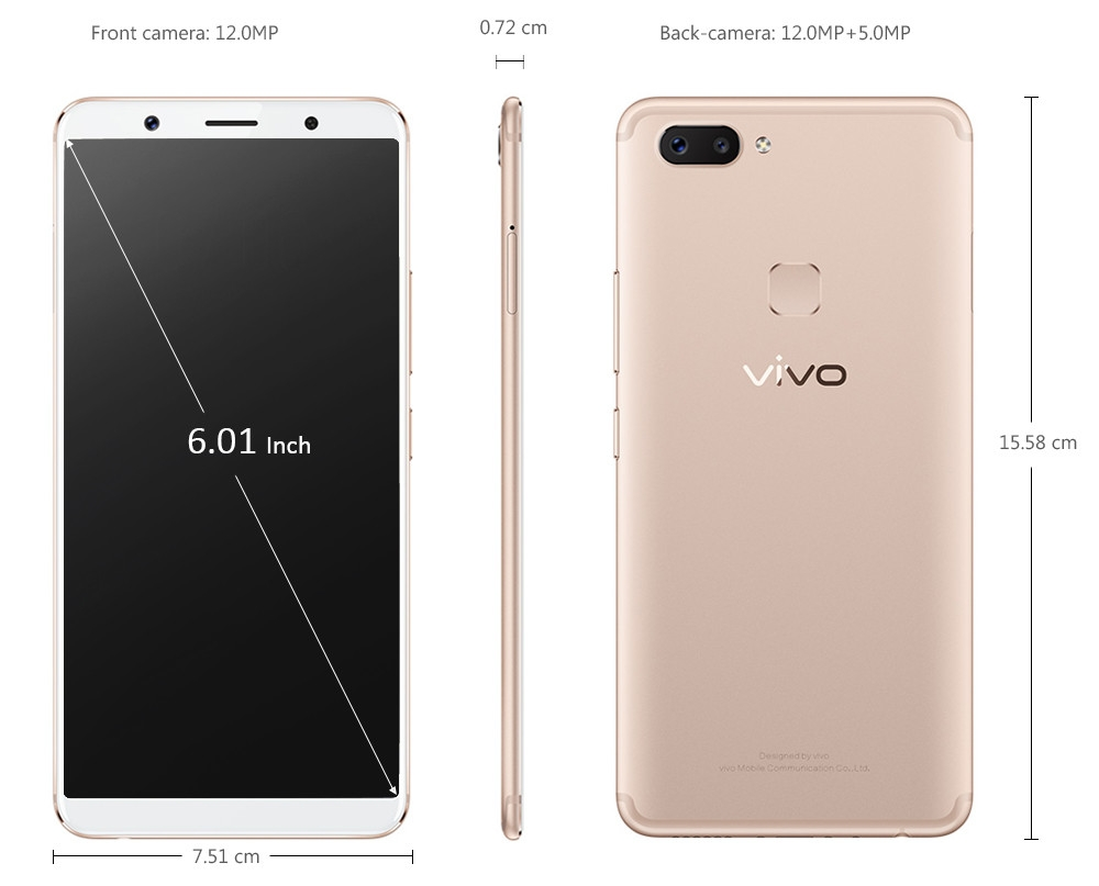 Vivo?X20 4G Phablet 6.01 inch Android 7.1.1 Qualcomm Snapdragon 660 Octa Core 2.2GHz 4GB RAM 64GB ROM 3240mAh Battery Fast Charge Fingerprint Sensor Dual Band WiFi