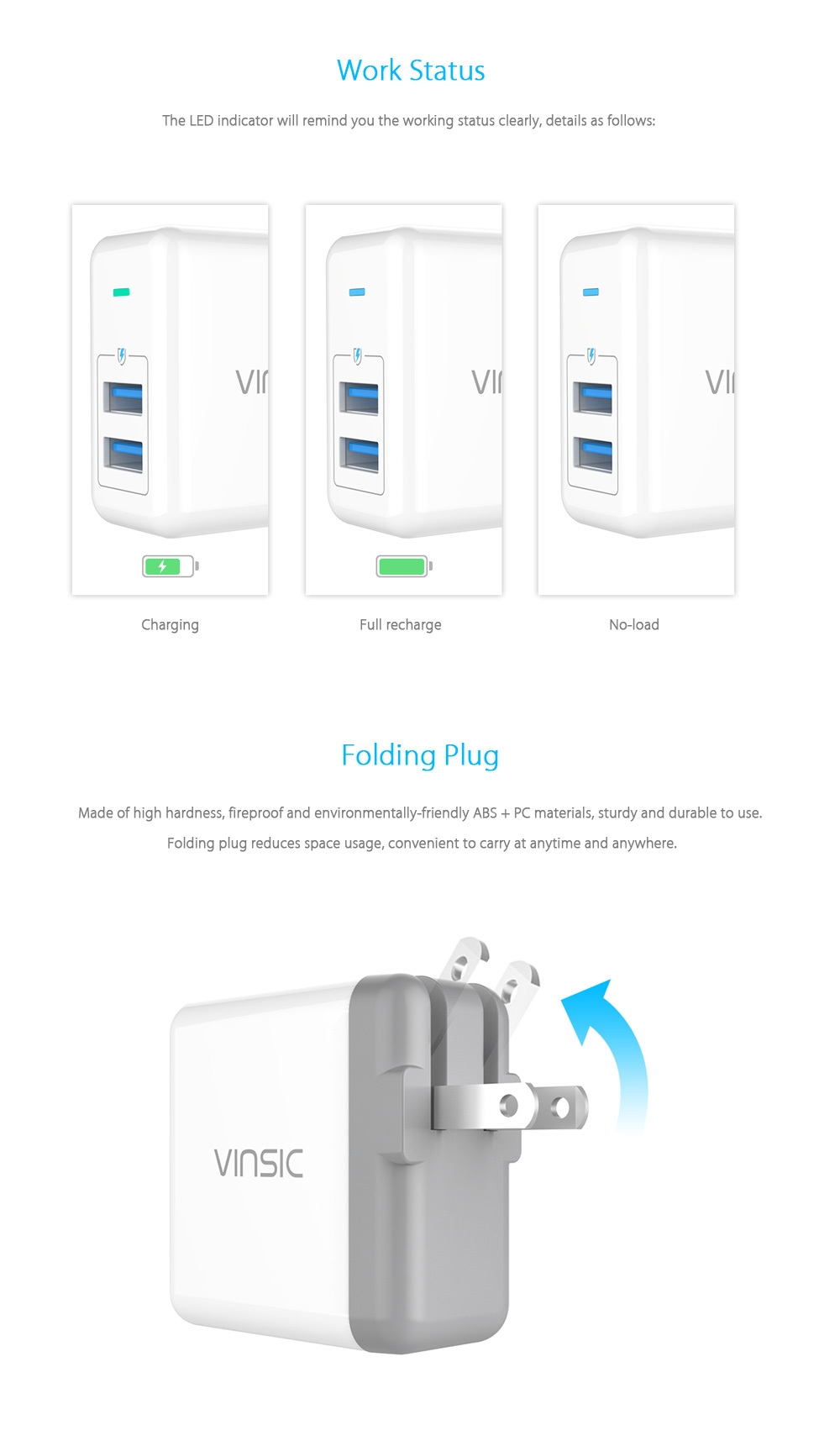 VINSIC VSCW208 5V 4.8A ( Max ) 24W Wall Charger Dual USB Output