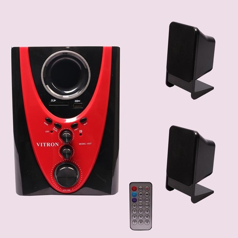 VITRON V027 Home Theater Sound System 2.1 Multimedia Bluetooth Speaker Subwoofer black&red 25w V027 1