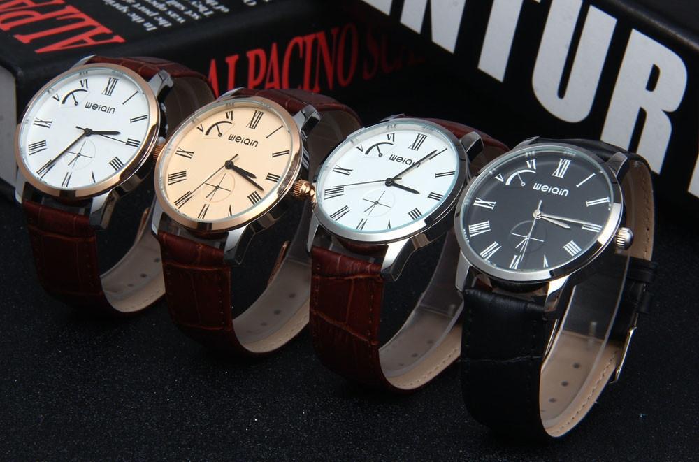 WeiQin W23056 Quartz Men Watch Leather Strap 5ATM Water Resistant