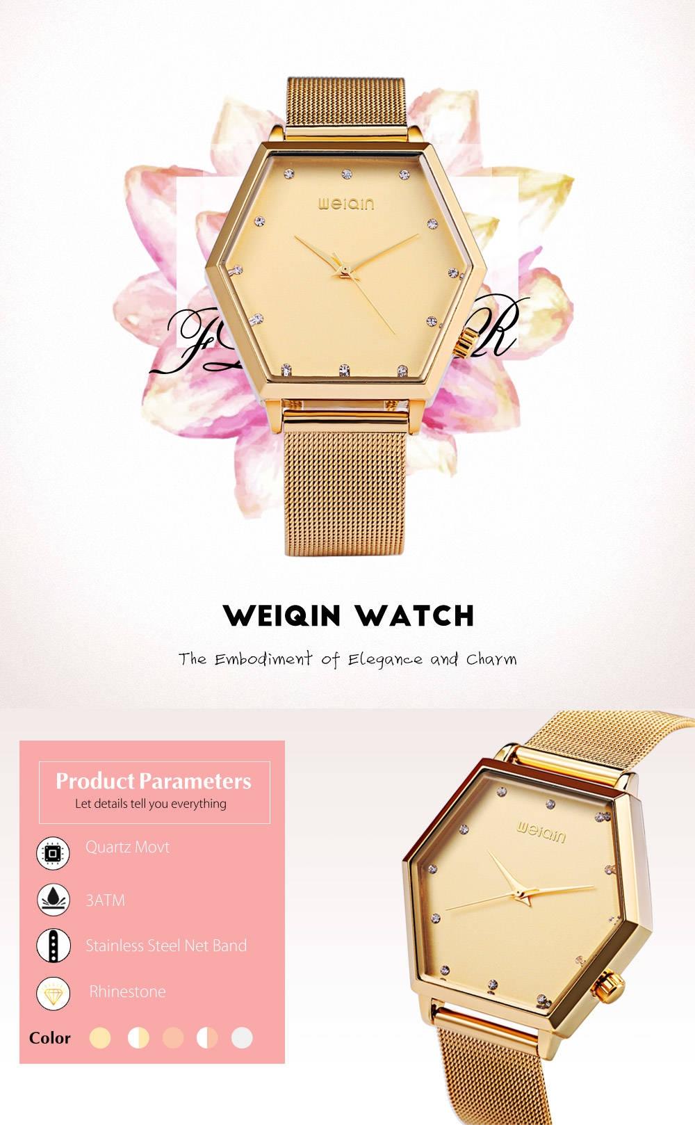 WeiQin W40013 Women Quartz Watch Rhinestone Dial Stainless Steel Net Band 3ATM Wristwatch