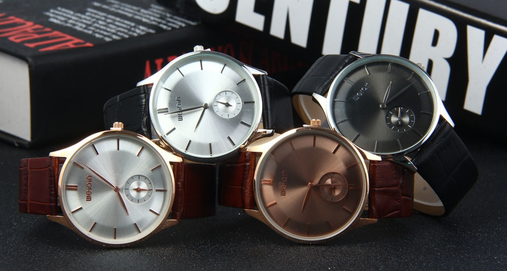 WeiQin W23041 Men Ultrathin Analog Quartz Watch Small Separated Second Dial Leather Strap
