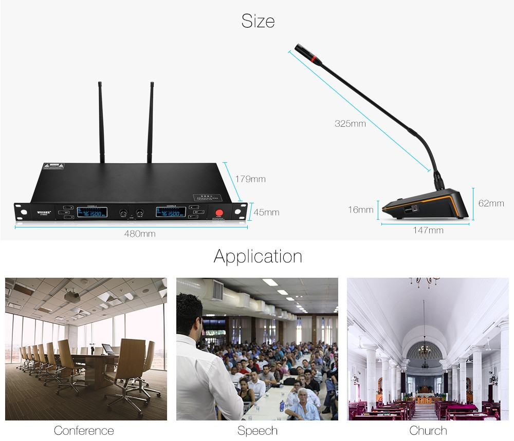 WEISRE U - 6002 Wireless UHF Microphone System Desktop Mic for Conference 2 Channels