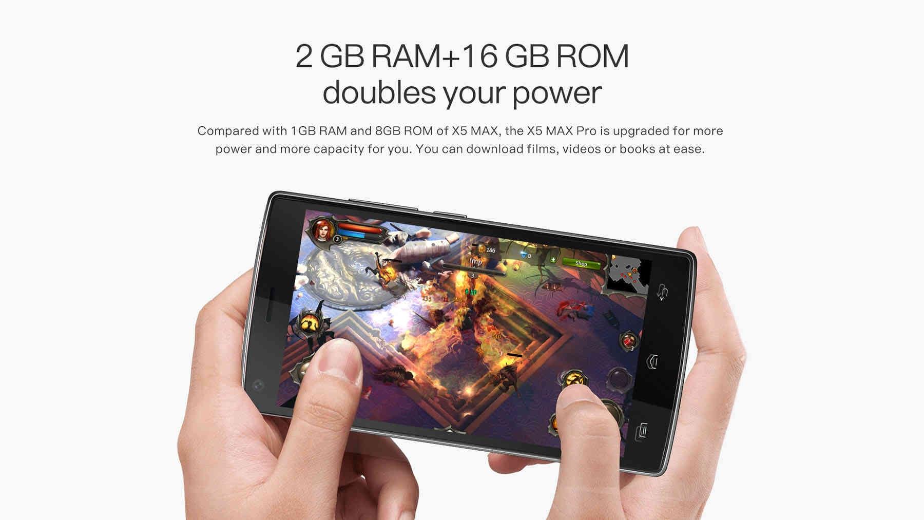 DOOGEE X5 MAX Pro 5.0 inch 4G Smartphone Android 6.0 MTK6737 Quad Core 1.3GHz 2GB RAM 16GB ROM Fingerprint Sensor Sensor Cameras Bluetooth 4.0 4000mAh Battery