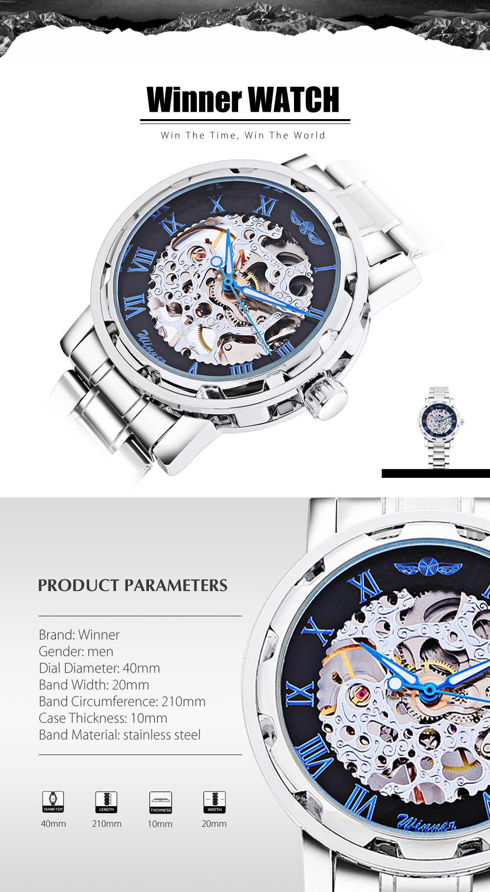 Winner F120604 Men Mechanical Watch Hollow Movement Luminous Wristwatch