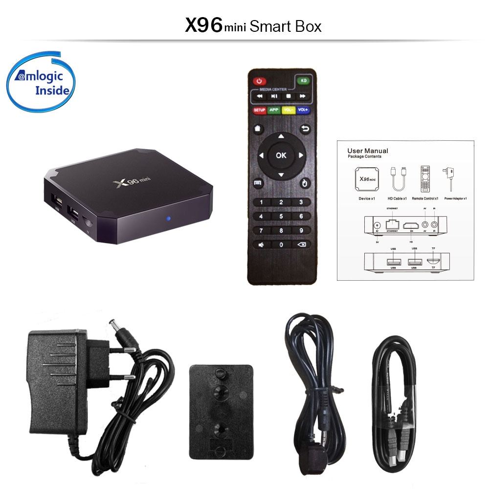 Cheapest TV box X96 mini Android7.1 1G/2G ram smart IPTV box media player X96 mini s905w