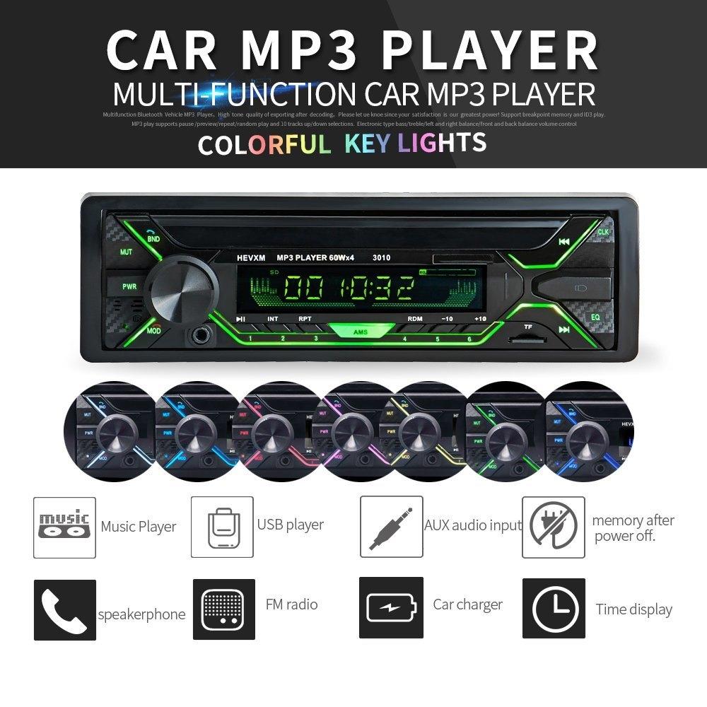 Car Stereo Radio Audio MP3 Player USB TF FM 12V AUX 1 DIN Bluetooth Remote 4x60W