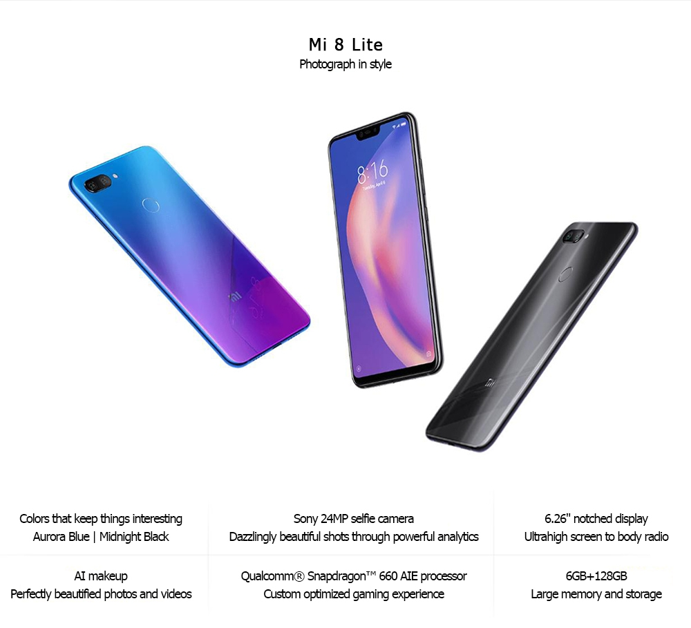 Xiaomi Mi 8 Lite 4G Phablet Android 8.1 6.26 inch Snapdragon 660 Octa Core 2.2GHz 6GB RAM 128GB ROM Dual Rear Cameras