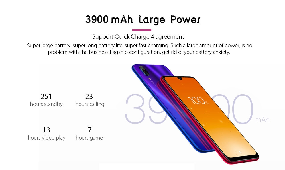 Xiaomi Redmi Note 7 4G Phablet 6.3 inch MIUI 10 ( Android 9.0 Pie ) Qualcomm Snapdragon 660 Octa Core 2.2GHz 3GB RAM 32GB ROM 48.0MP + 5.0MP Rear Camera Fingerprint Sensor 3900mAh Built-in