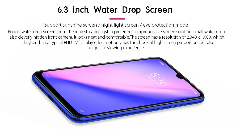 Xiaomi Redmi Note 7 4G Phablet 6.3 inch MIUI 10 ( Android 9.0 Pie ) Qualcomm Snapdragon 660 Octa Core 2.2GHz 4GB RAM 64GB ROM 48.0MP + 5.0MP Rear Camera Fingerprint Sensor 3900mAh Built-in
