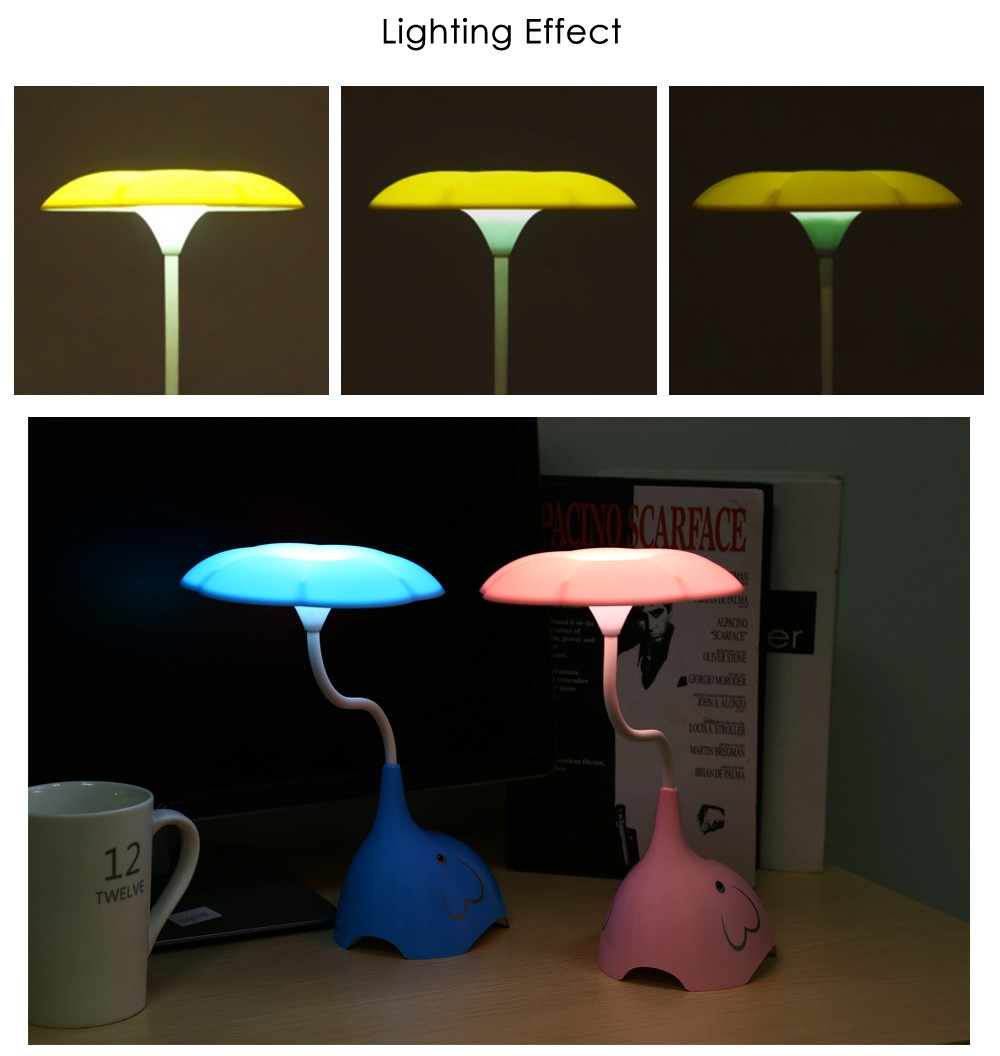 YouOKLight Cute Elephant DC 5V 0.8W LED Desk Lamp Eye-protection Touch Control 3 Dimmable Levels Night Light