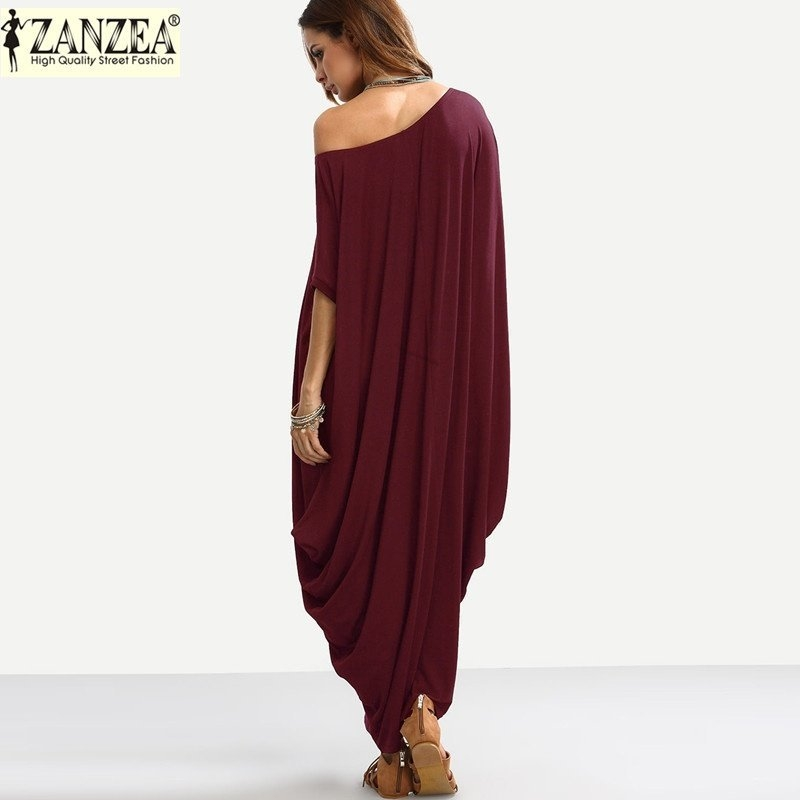 3c221ed7040d ZANZEA ZANZEA Plain Women Maxi Dress Summer Autumn Short Sleeve Off ...