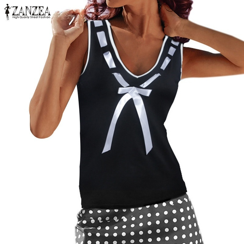 2d8cfb85b227fb ZANZEA ZANZEA Women Deep V-Neck Tank Tops Vest Slim Basic Tee Shirts ...