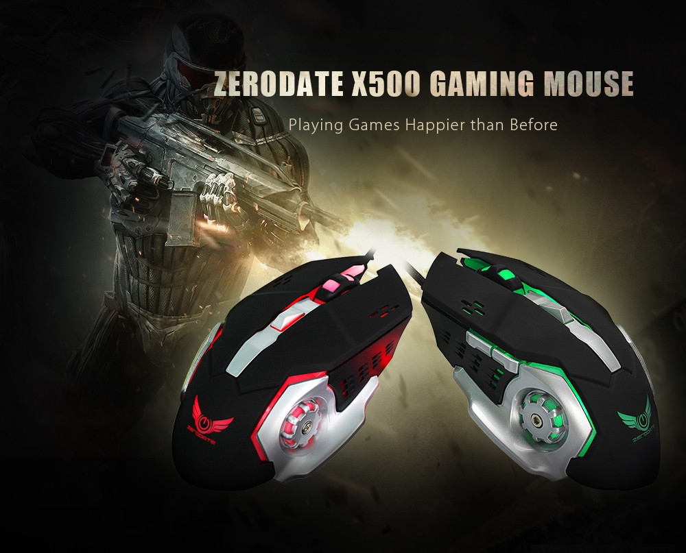 ZERODATE X500 Wired Gaming Mouse with LED Light 3200DPI