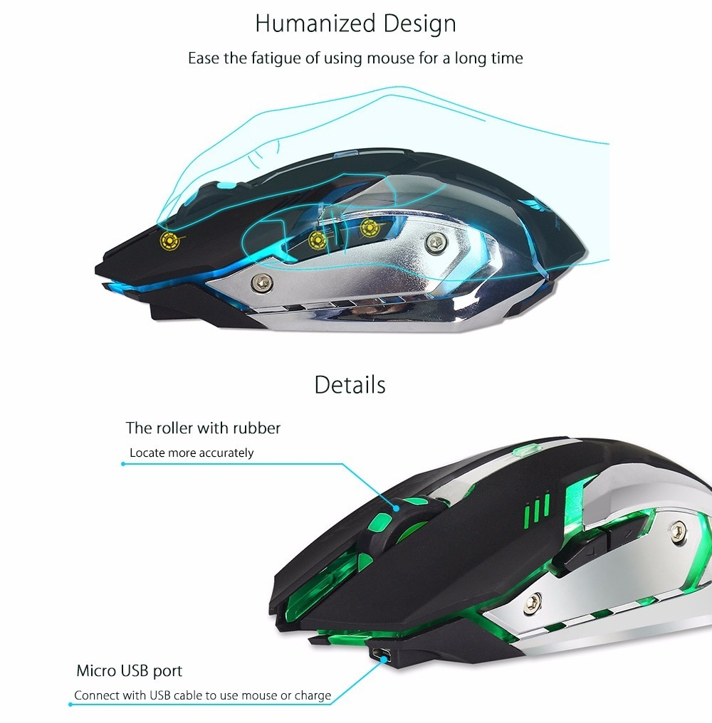ZERODATE X70 Dual-mode Gaming Mouse 2400DPI with Breathing Light