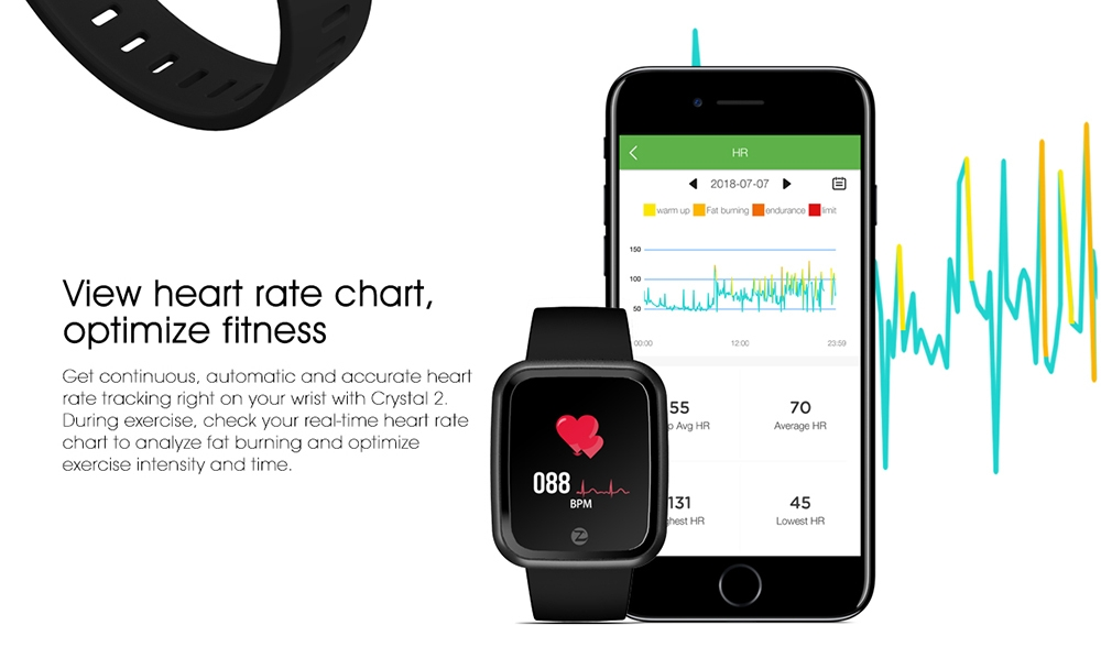 Zeblaze Crystal 2 Smart Bracelet IP67 Waterproof Wearable Device Heart Rate Monitor Color Screen Smart Watch for Android iOS
