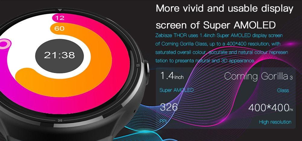 Zeblaze THOR 3G Smartwatch Phone 1.4 inch Android 5.1 MTK6580M Quad Core 1.0GHz 1GB RAM 16GB ROM Bluetooth 4.0 AMOLED Corning Gorilla Glass 3 Screen