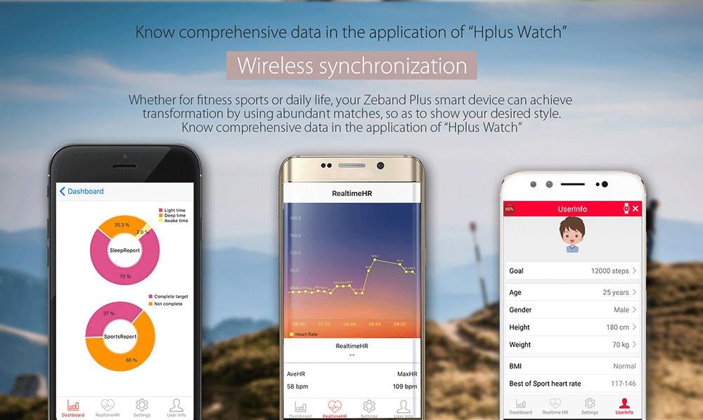 Zeblaze Zeband Plus Smart Wristband Heart Rate Activity Tracker Sleep Monitor