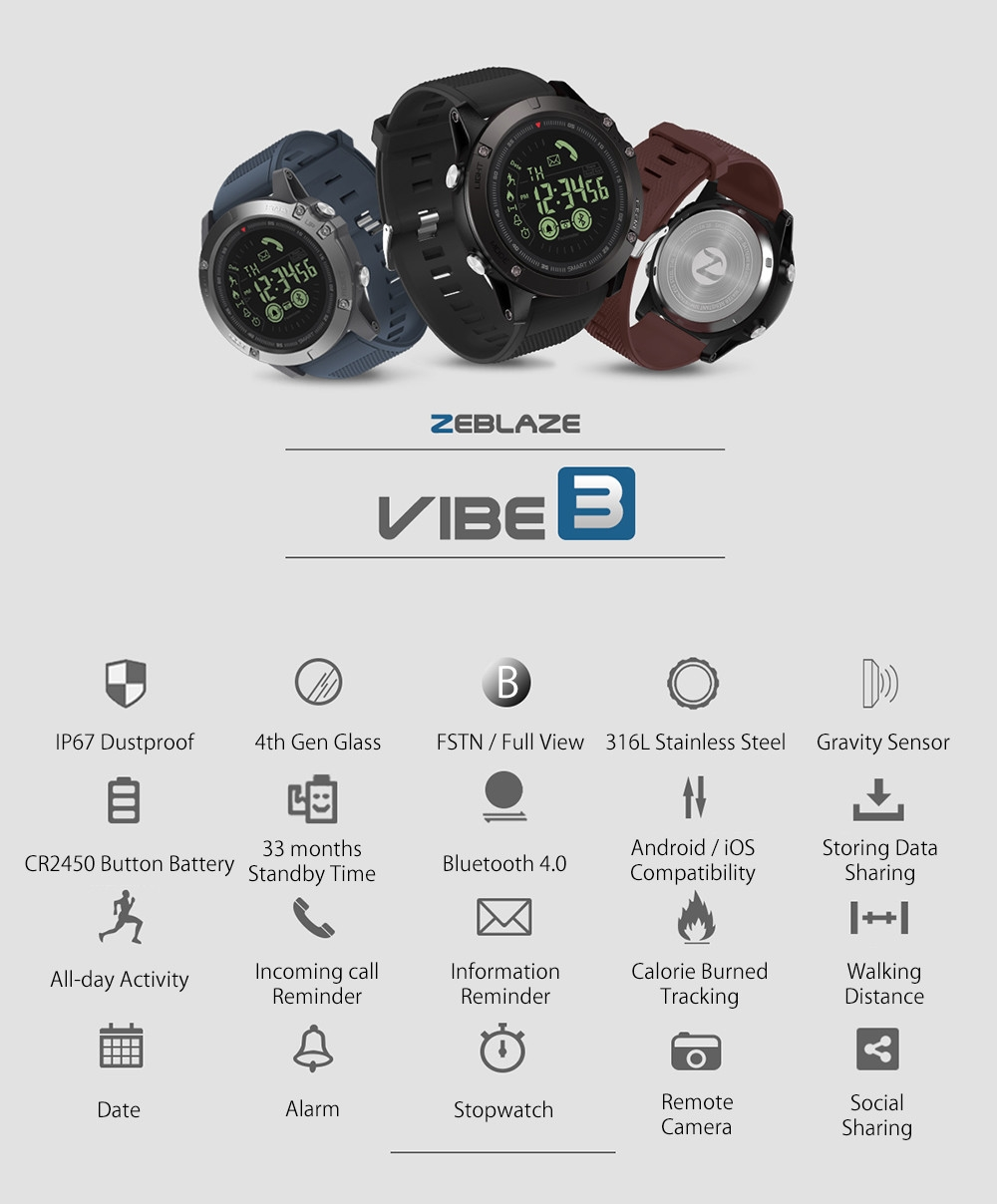Zeblaze VIBE 3 Smart Watch Luminous Dial Low Battery Remind Moments Share Wristband